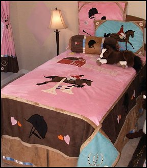 Colorful Girls Bedding Collection For The Girl That Loves Horses, The  Carstens English Bedding Ensemble