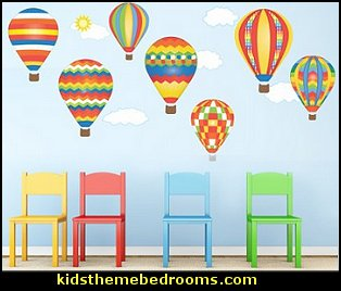 Amazing 7 Hot Air Balloons And 5 Clouds Removable U0026 Reusable Wall Decals. Red, Blue